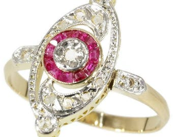 Oval ruby diamond engagement ring 18k yellow gold circle rubies rose cut diamonds French ring vintage Art Deco jewelry