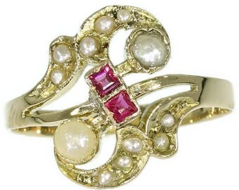 Antique pearl ring swirl 18k yellow gold ruby Victorian ring