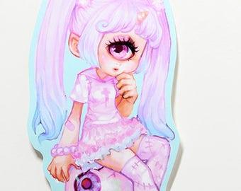 "3.5"" Plasticmoon Astraia Vinyl Sticker, Cyclops Girl Vinyl Sticker, Cyclops Girl Artwork, Glitter Vinyl Sticker, Creepy Cute Art Sticker"