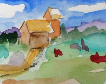 House on the Hill aceo original miniature artist trading card watercolor painting Art by Delilah