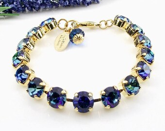 Blue 8mm Crystal Bracelet, Bermuda Blue Crystal Bracelet, Bridal Bracelet, Bridesmaid Bracelet, Wedding Bracelet, Free Shipping.