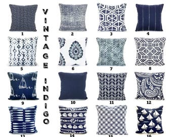 Indigo Navy White Pillow Covers Decorative Throw Pillows Cushions Vintage Indigo White Living Room Pillows Couch Bed, ALL SIZES Mix & Match