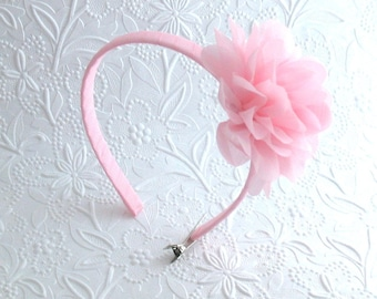 Girls Toddlers Pastel Pink Flower Headband ~ Easter, Flower Girl, Chiffon Flower Headband