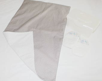 Reversible Grey & White Polka Dots Waterproof Changing Pad - x-large