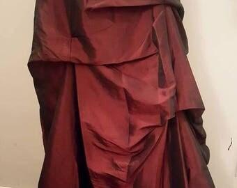 Tufted Long Romantic Burgundy Skirt XS
