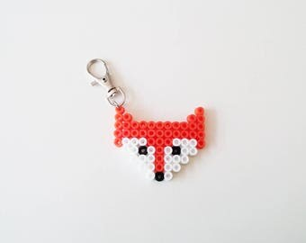 Fox Keychain, Pixel Art Fox Keychain, Orange, Fall, Tribal, Forest Animal, Handmade, Hipster, Gift for Foxlovers
