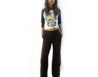 vintage 70s Montgomery Ward dark brown bell bottom trousers // size 9/10