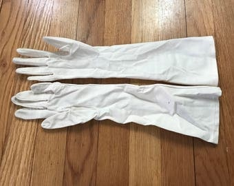 Cream Vintage Gloves Cotton Size Small Bridal Weddings Dressy Retro 1950s Long Length
