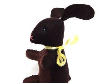ON SALE Chocolate bunny Easter stuffed animal felt food plushie toy or decoration