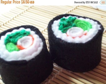 FLASH SALE Two Boston Roll Felt Sushi Toys