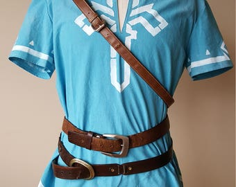 Link Breath of the Wild Tunic Blue  with white stenciling