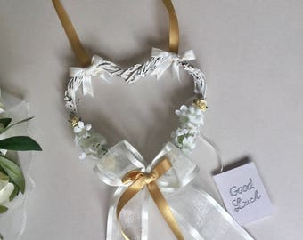 Wedding GOODLUCK shabby chic hanging heart bride & groom keepsake gift