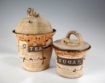 Pottery tea jar and sugar bowl set, ceramic tea bag jar, kitchen storage jar, stoneware sugar jar with lid, pottery TEA canister, sugar bowl
