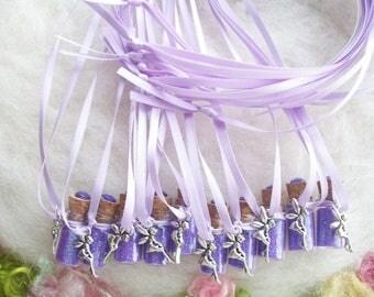 Fairy Party Favors, Tiny Purple Lavender Fairy Glitter Party Favors 10 Pixie Sparkle Necklaces Flower Fairy Happy Birthday Charm Necklace