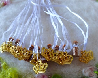 Gold Crown Party Favors Queen Fairy Godmother Princess Pageant Winner First Prize  Magical Gold Sparkle Birthday Necklace