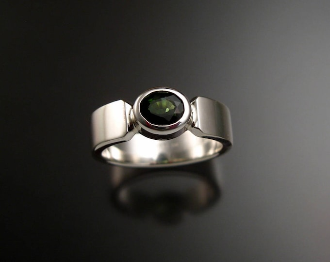 Green Tourmaline Ring oval Sterling Silver Emerald Substitute ring made to order in your Size