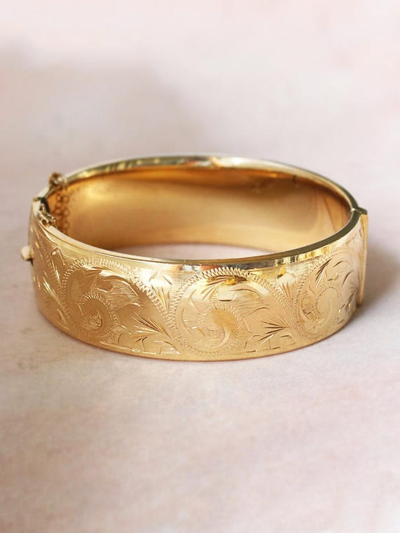 Vintage Gold Bangle Bracelet, Swirl and Leaf Engraved 9ct Gold Metal Cored Cuff - Decorative