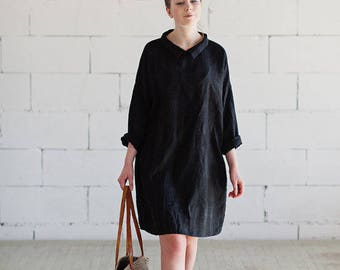 Black Linen Dress Long Sleeves