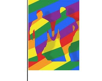 Love is Love! Flag | Bright Rainbow Print | LGBTIQ Pride | Indoor or Outdoor | Garden Deck Doorway | Interior Decor | Show Your Support!