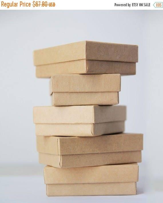 ON SALE Kraft Jewelry Boxes  w/ cotton 3-1/16 X 2-1/8 X 1  lot of 100     Kraft Bracelet Box, Paper Jewelry Boxes, Jewelry Box Wholesale, Us