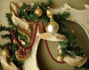 pre lit christmas garland 9ft with glitter victorian ornaments garland victorian santas red and gold glittered lighted christmas garland