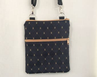 Cross Body Bag, Zippered Shoulder Purse, Sling Bag, Small Travel Purse, iPad, Black and Tan