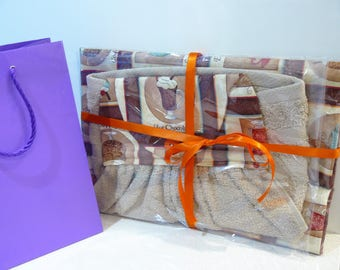 Gift Set - Ironing Board Cover and matching hand towel - hot chocolate cafe au lait iced coffee cappauccino vanilla latte