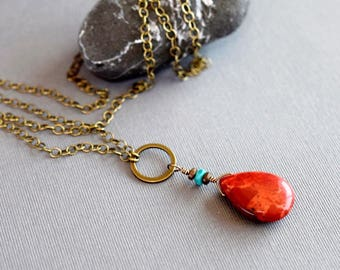 Teardrop Red Coral Necklace Teardrop Necklace Turquoise Hematite Pendant Bohemian Jewelry Antique Brass Wrapped Long Chain Coral Jewelry