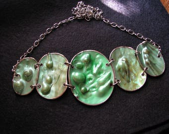 Pearl bib necklace | mabe blister pearl | pendant | green | vintage | chunky statement