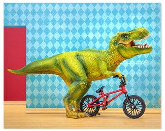 T. Rex dinosaur decor art print with BMX: Shredder
