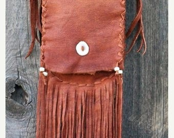 ON SALE Fringed leather purse , Custom leather crossbody handbag ,  Fringed shoulder bag