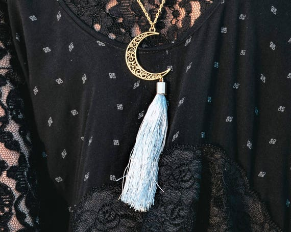 Gold Crescent Moon Long Tassel Necklace