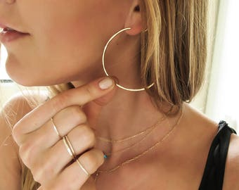"Gold Hoop Earrings - Thin Gold Hoops - Thin Hammered Hoops - Silver or Rose Gold Hoops - Straight Through - Endless Hoops -  2"" Large Hoops"