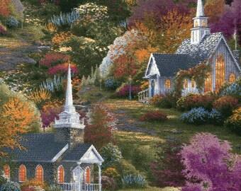 Spring Chapels - David Textiles - Thomas Kinkade - .8 Yard
