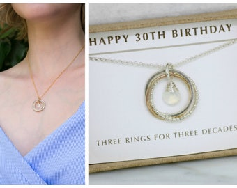 30th birthday gift, moonstone necklace for 30th, June birthday gift for daughter - Lilia