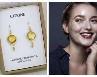 Citrine earrings, Christmas gift for wife, girlfriend, mom, gold gemstone earrings, gemstone drop earrings - Bay
