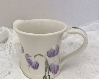 Ceramic coffee cup, pottery tea cup, porcelain hot chocolate mug, white with purple flowers, watercolor tea or coffee mug, smaller in size