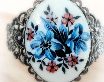 Silver Cuff Bracelet - Blue Glass Flowers - Victorian Jewelry - Romantic Jewelry - Boho Jewelry - Vintage Style - Cameo Jewelry