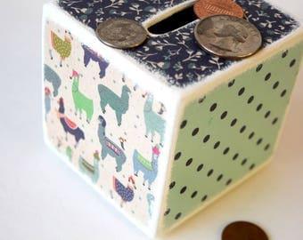 Llama Piggy Bank, Llamas, Wooden Bank, Coin Box, Money Box, Tirelire, Wood bank, Kids Bank, Change Box, Cash Box, Square wood Bank