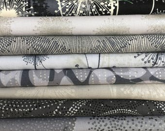 Nature's Pearl by Benartex - 9 Fat Quarter Bundles and 2 Half Yard Bundles of neutral grays and beige