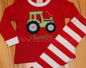 Valentine Pajamas, Tractor Applique, Red Pajamas