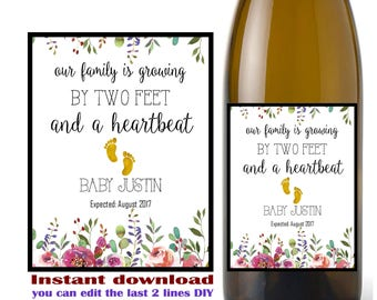 Pregnancy announcement wine label, baby announcement, adding two feet,  (Instant download, Editable  digital Pdf file) DIY #3432