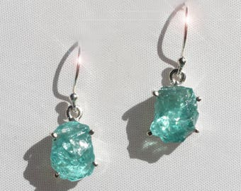 Cerulean Sky - Beautiful Natural Blue Apatite Rough Sterling Silver Earrings