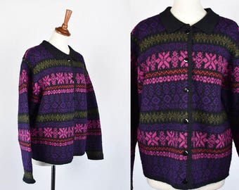 Norwegian Style Cardigan Sweater by K.B. Collection, 100% Wool