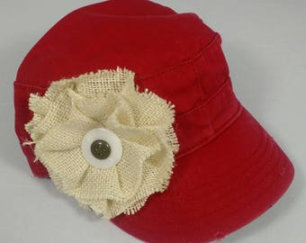 Raspberry red army hat with large cream burlap flower and vintage buttons