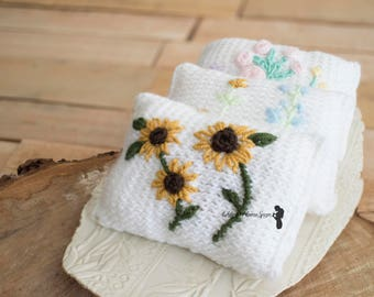 Knit Newborn Pillow - Hand Embroidered Newborn Posing Pillow - Newborn Photo Prop - Floral Newborn Prop - Ready to Ship