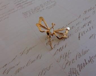 AVON Natures Garden Dragonfly Tac Pin 1993 Vintage Gold and Aurora Borealis tac pin - Dragonfly brooch