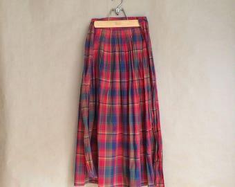 SALE! wonderful vintage 1990's 90's wrap around skirt / full length pleated skirt  / cotton skirt / deadstock nos / summertime