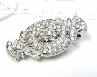 Vintage Art Deco Bridal Hair Clip, OOAK Small 1920s Rhinestone Flapper Hair Accessory, 1930 Vintage Gatsby Hair Barrette, Roaring Twenties