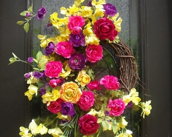 Summer Door Wreath, Summer Wreath, Ranunculus Wreath, Front Door Wreath, Wreaths For Door